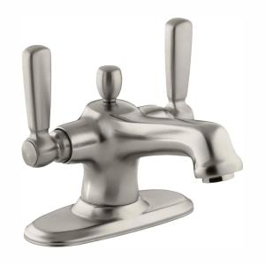 Bancroft 4 in. Centerset 2-Handle Low-Arc Bathroom Faucet in Vibrant Brushed Nickel