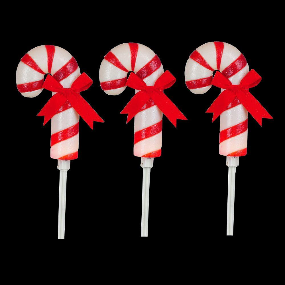 Home Accents Holiday 19 in. Frosted Candy Cane Pathway Marker ...