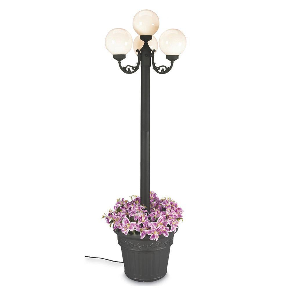European Park Style Four White Globe Plug-In Outdoor Black Lantern with Planter