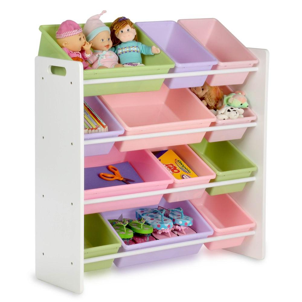 Honey Can Do Kids Toy Storage Organizer With Bins White Pastel