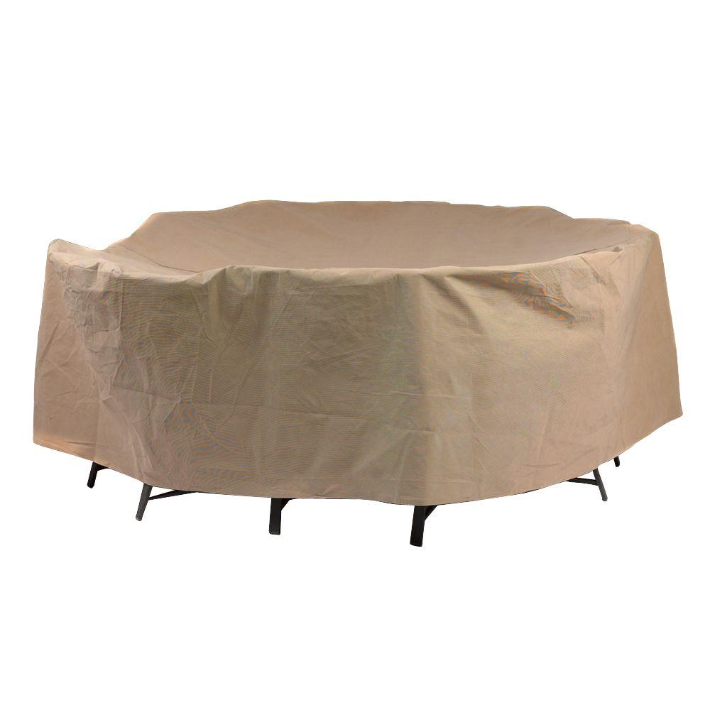 Duck Covers Essential 76 In Round Patio Table And Chair Set Cover Etr07676 The Home Depot