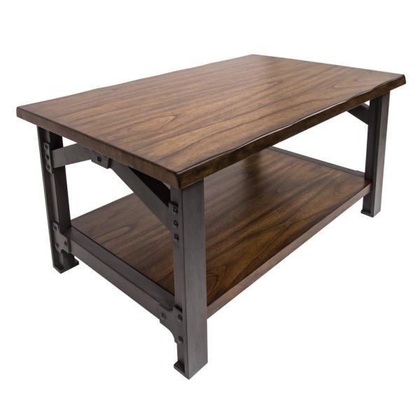 Bethel 42 in. Graphite Gray/Brown Large Rectangle Wood Coffee Table with Shelf