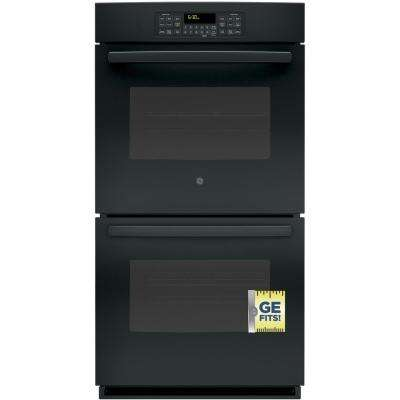 27 in. Double Electric Wall Oven Self-Cleaning with Steam in Black