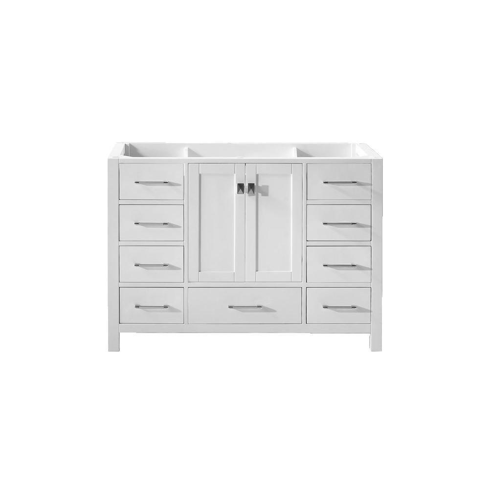 Virtu USA Caroline Avenue 47.24 in. W x 21.65 in. D x 33.46 in. H Vanity Cabinet in White