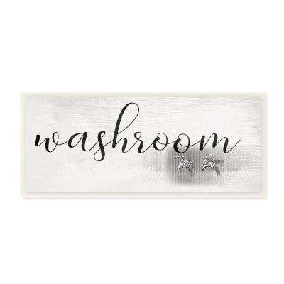 "7 in. x 17 in. ""Washroom Faucet Illustration Script Typography Sign"" by Daphne Polselli Wood Wall Art"