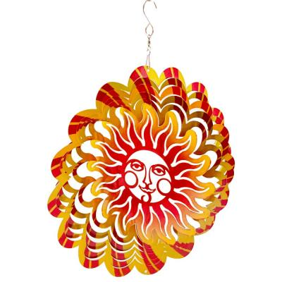 Falkirk Wind 12 in. Stainless Steel Wind Spinner  Mandala Flaming Smiling in Sun Red Yellow
