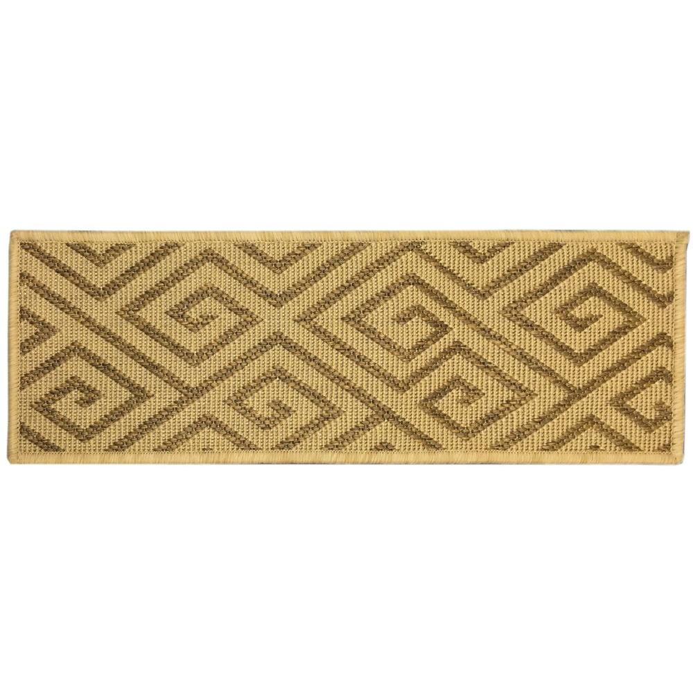 Summer Collection Geometric Design Beige 9 in. x 26 in. Indoor/Outdoor Stair Tread Cover (Set of 14)