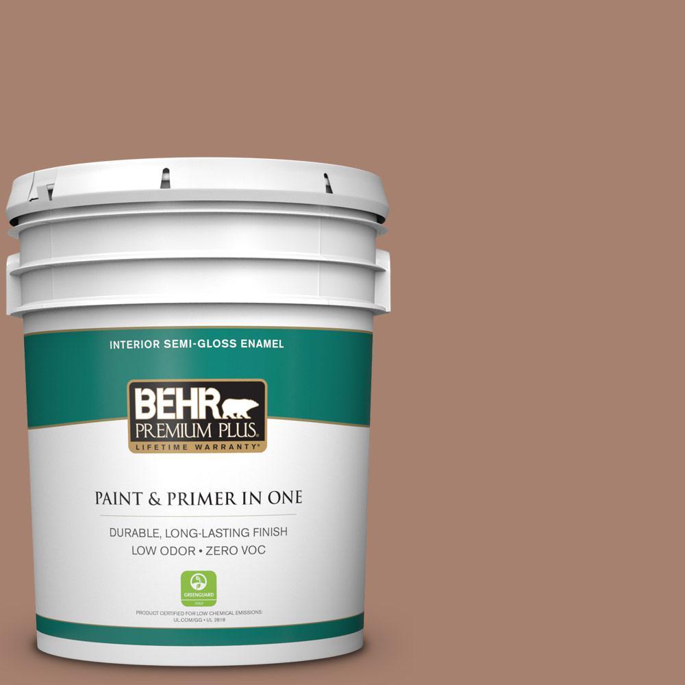 BEHR Premium Plus 5-gal. #S190-5 Cocoa Nutmeg Semi-Gloss Enamel Interior Paint