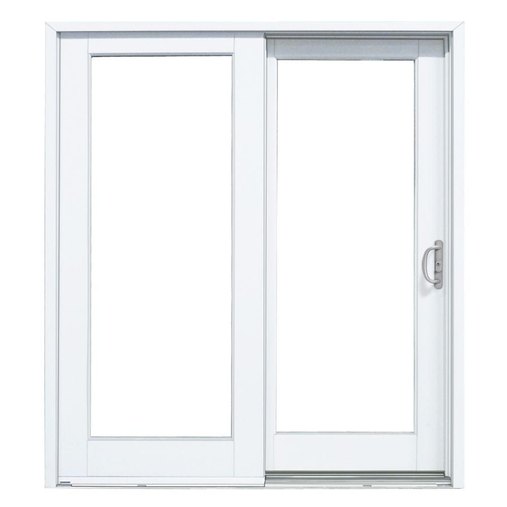 MasterPiece 60 in. x 80 in. Woodgrain Interior and Smooth White Exterior Right-Hand Composite Sliding Patio Door