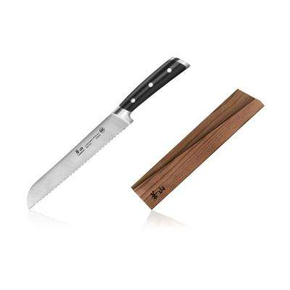 TS Series 8 in. Swedish Sandvik 14C28N Steel Forged Bread Knife and Wood Sheath Set