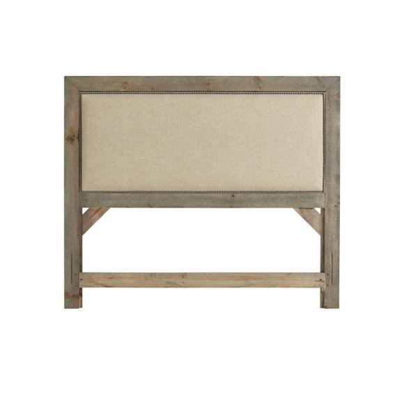 Willow Weathered Gray Queen Upholstered Headboard
