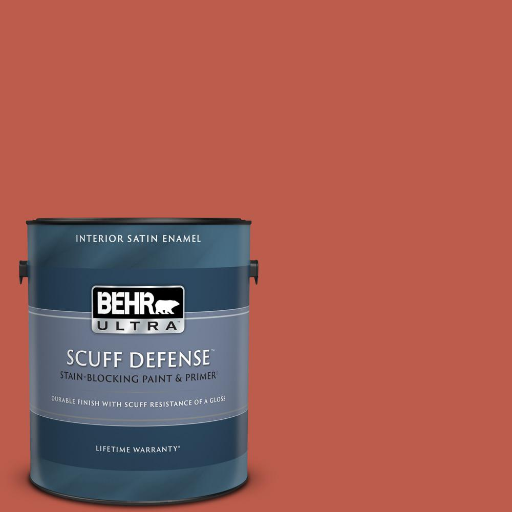Behr Ultra 1 Gal M170 7 Tandoori Extra Durable Satin Enamel Interior Paint And Primer In One 775301 The Home Depot