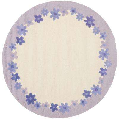Kids Ivory/Lavender 6 ft. x 6 ft. Round Area Rug