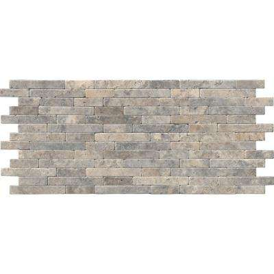Silver Ash Veneer 8 in. x 18 in. x 10 mm Tumbled Travertine Mesh-Mounted Mosaic Tile (10 sq. ft. / case)