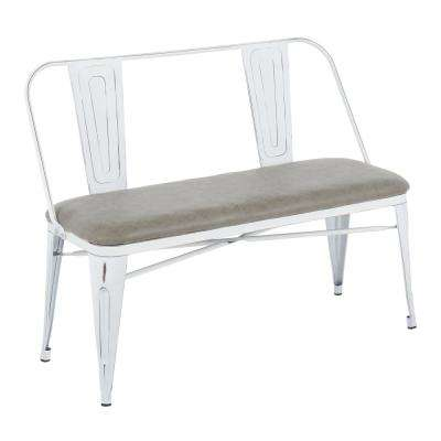 Oregon Grey and Vintage White Upholstered Bench