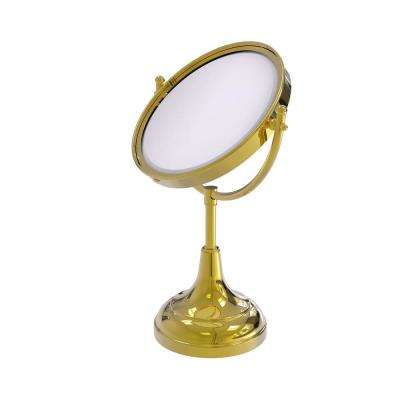 15 in. x 8 in. Vanity Top Make-Up Mirror 5x Magnification in Polished Brass