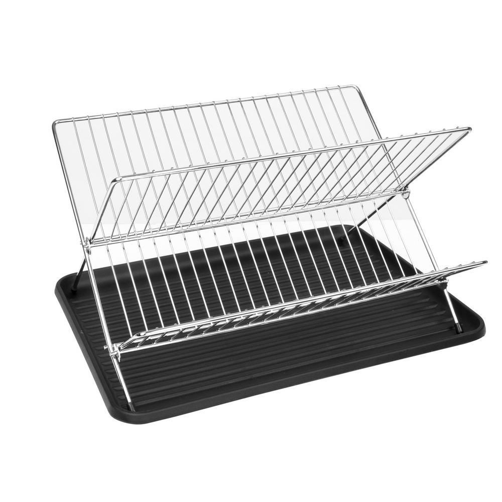 17.5 in. x 14.25 in. x 5.75 in. Folding Dish Rack in Black