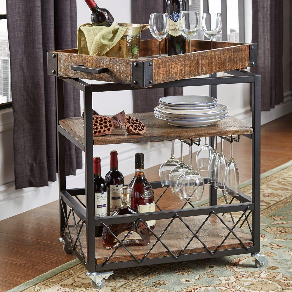Homesullivan Grove Place Distressed Cocoa Bar Cart With Wine Glass