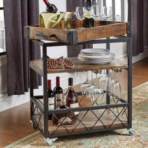 Homesullivan Grove Place Distressed Cocoa Bar Cart With