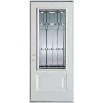 32 in. x 80 in. Architectural 3/4 Lite 1-Panel Painted White Right-Hand Inswing Steel Prehung Front Door