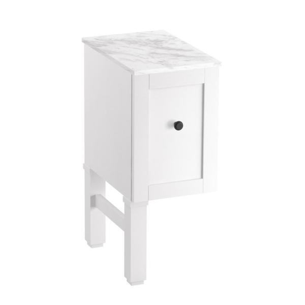 Chambly 12 in. Vanity Bridge in Linen White with Vanity Top in Stone