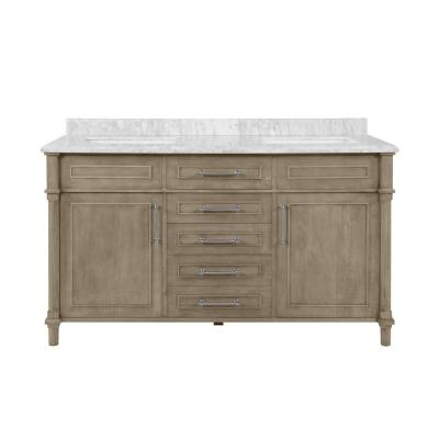 Aberdeen 60 in. x 22 in. D Bath Vanity in Antique Oak with Carrara Marble Vanity Top in White with White Basins