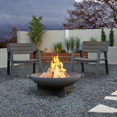 Anson 3-Piece Aluminum Patio Conversation Set with Fire Pit and Set of (2-Chairs)