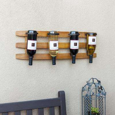 Horizontal Triple Stave Wood and Iron Rustic 4 Bottle Wall Mount Wine Holder