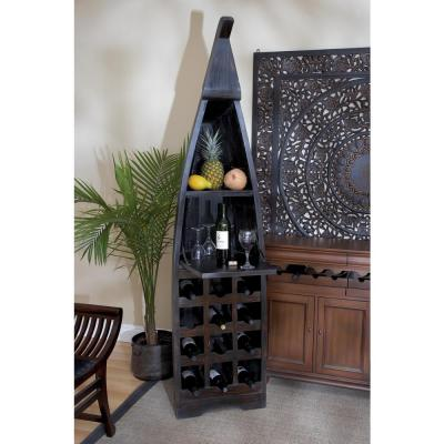 12-Bottle Stained wood Bar Cabinet