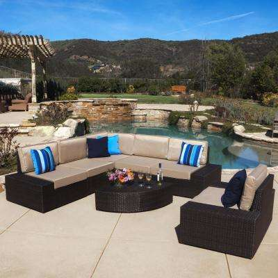 Santa Cruz Dark Brown 7-Piece Wicker Outdoor Sectional Set with Beige Cushions
