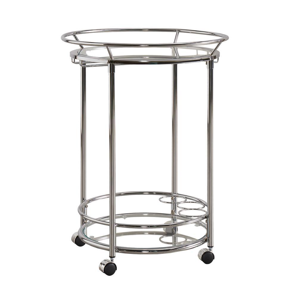Alyce Chrome Bar Cart with Wine Glass Storage
