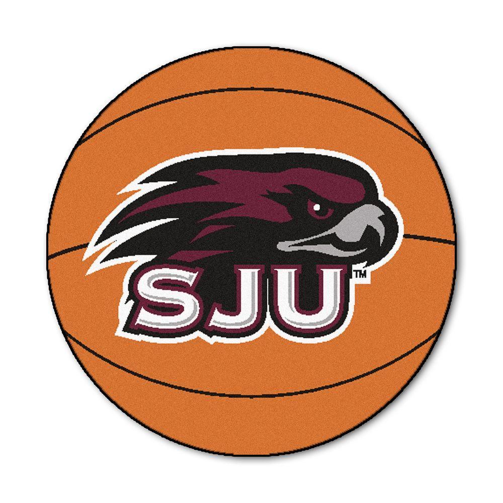 NCAA St. Joseph's University Orange 2 ft. x 2 ft. Indoor Round Area Rug