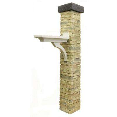 Brace and Flat Cap Stacked Stone Beige Mailbox Post