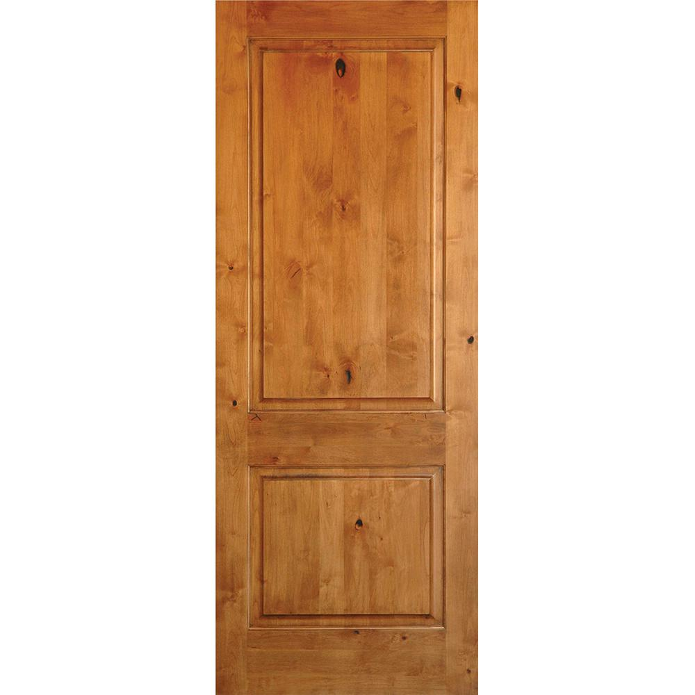 Krosswood doors 30 in x 96 in rustic knotty alder 2 panel square top solid wood stainable for Interior wood doors home depot