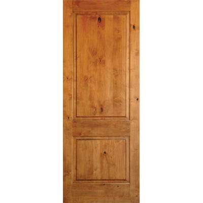 Rustic Knotty Alder 2-Panel Square Top Solid Wood Stainable Interior Door Slab