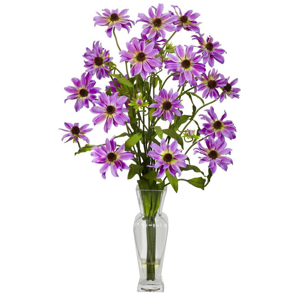 27 in. H Purple Cosmos with Vase Silk Flower Arrangement 1172-PP