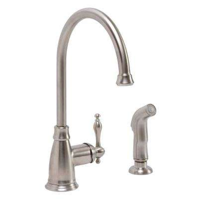 Wellington Single-Handle Standard Kitchen Faucet with Side Sprayer in Brushed Nickel
