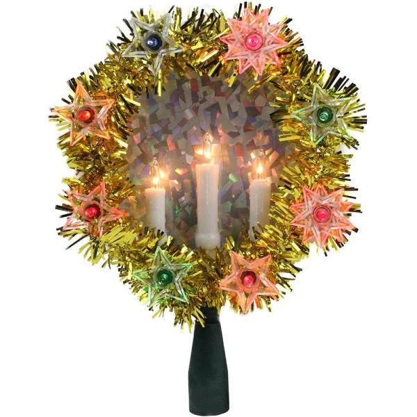 7 in. Gold Tinsel Wreath with Candles Christmas Tree Topper - Multi Lights