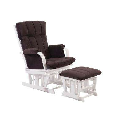 Home Deluxe Microfiber White and Dark Brown Wood Glider and Ottoman Set