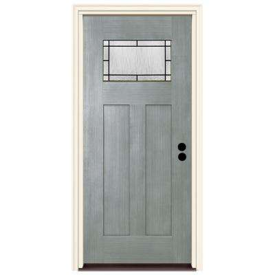 36 in. x 80 in. Left-Hand 1-Lite Craftsman Wendover Stone Stained Fiberglass Prehung Front Door with Brickmould