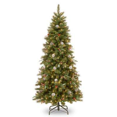 7-1/2 ft. Frosted Pine Berry Slim Hinged Tree with Cones, Red Berriesa and Eucalyptus Leaves and 550 Clear Lights