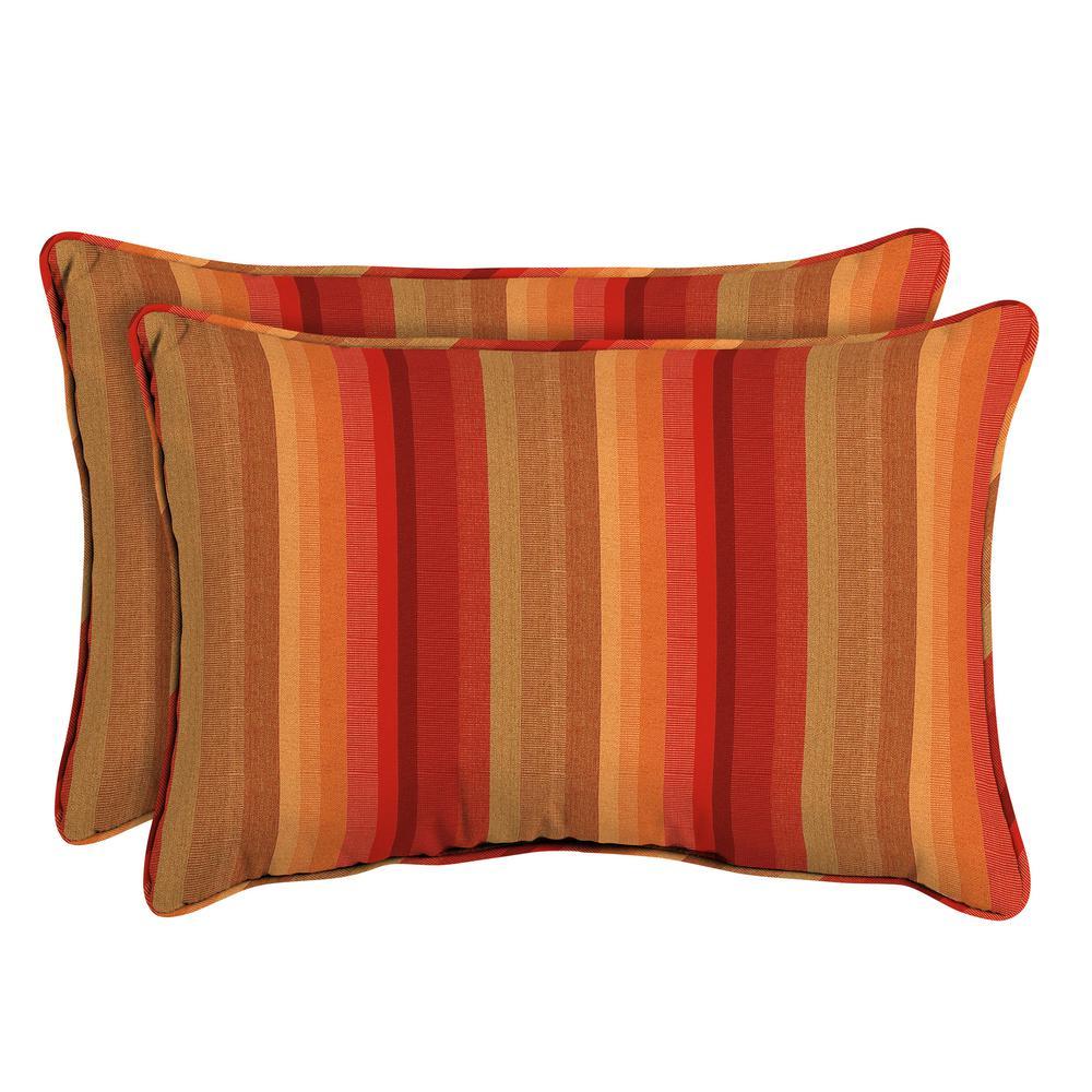 Sunbrella Astoria Sunset Oversized Lumbar Outdoor Throw Pillow (2-Pack)