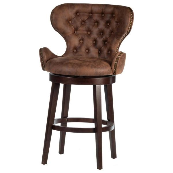 Mid-City 30.5 in. Chestnut Faux Leather Swivel Bar Stool