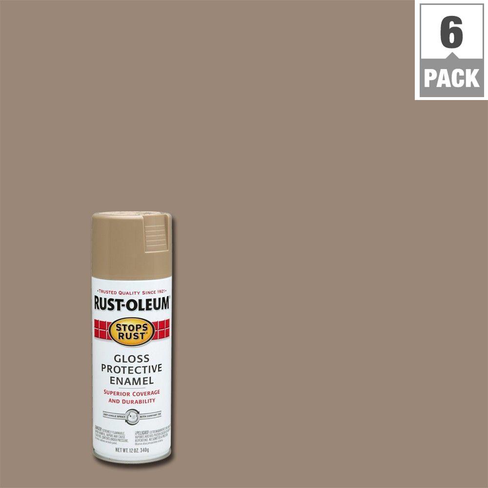 Rust-Oleum Stops Rust 12 oz. Khaki Gloss Protective Enamel Spray Paint (6-Pack)