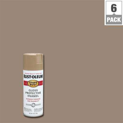 12 oz. Protective Enamel Gloss Khaki Spray Paint (6-Pack)