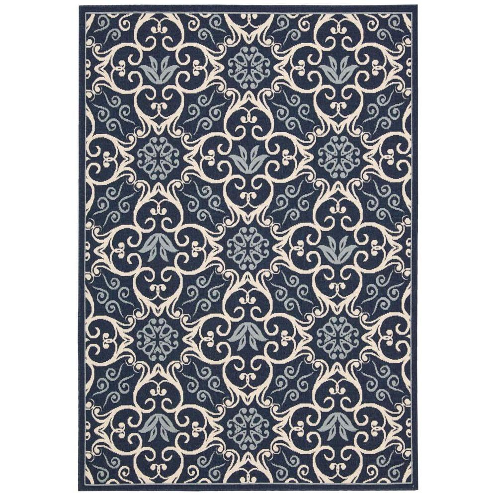 Nourison Caribbean Navy 7 ft. 10 in. x 10 ft. 6 in. Indoor/Outdoor Area Rug