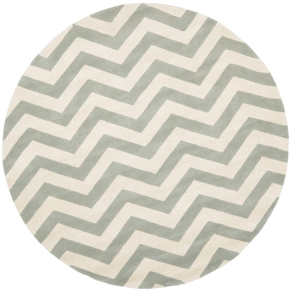 Chatham Grey/Ivory 5 ft. x 5 ft. Round Area Rug