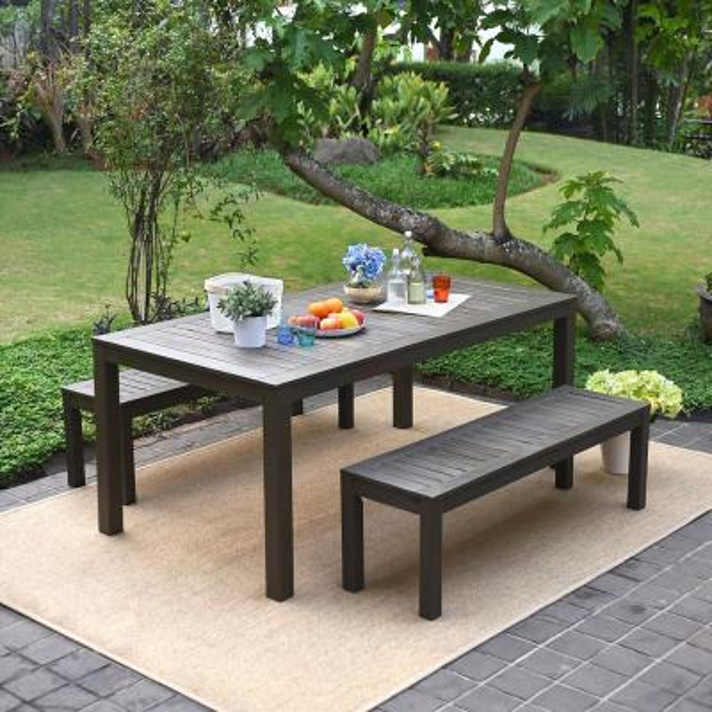 Braga Dark Gray 3-Piece Wood Rectangle Outdoor Dining Set