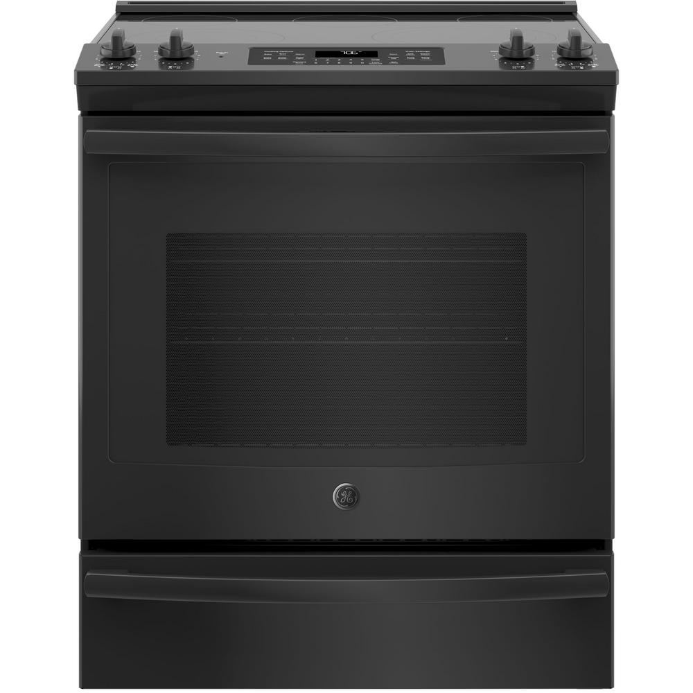 Ge 5 3 Cu Ft Slide In Electric Range With Self Cleaning Convection Oven Black