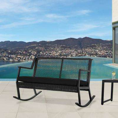 Calvin Black Powder Coated Aluminum Outdoor 2 Seat Rocking Chair With Black  Cushions